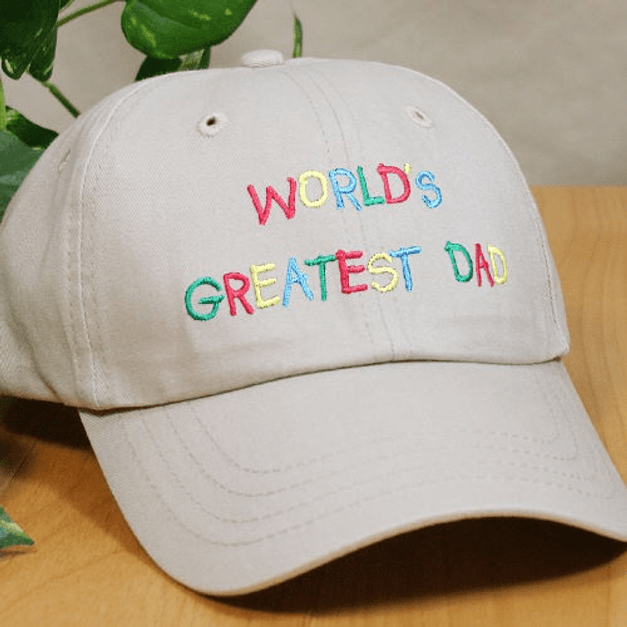 World's Greatest Dad hat, embroidered with Dad's name on the back - Khaki Color