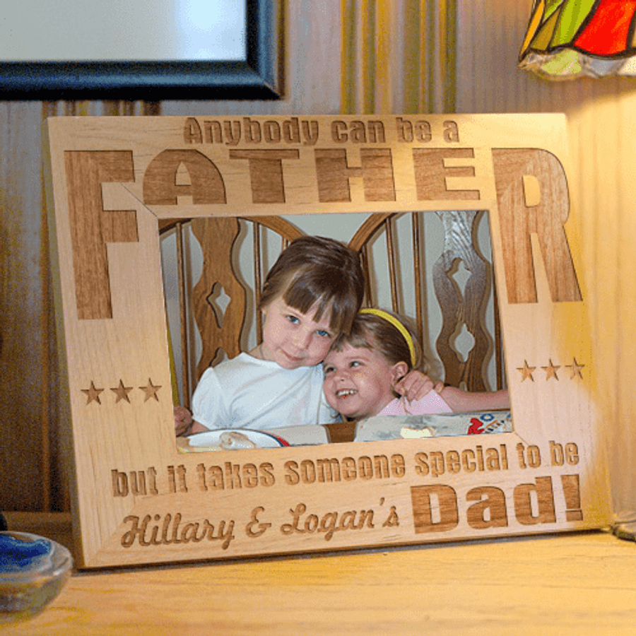 Anybody can be a Father wood frame, personalized with children's names