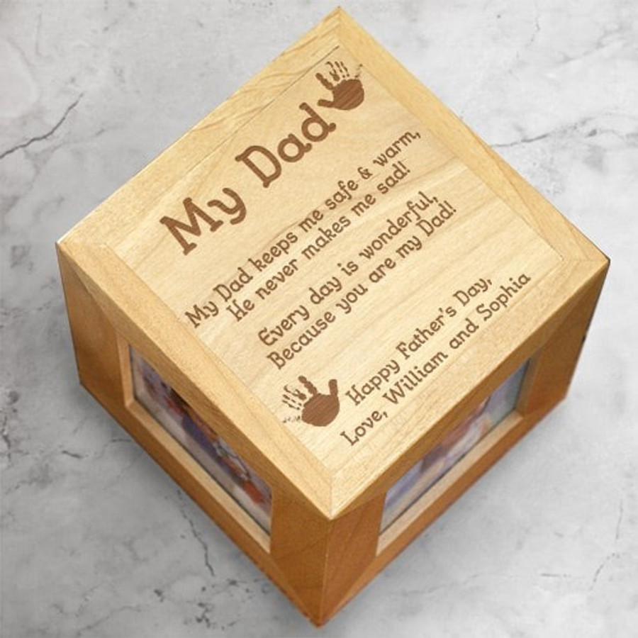 Beautiful natural wood engraved photo cube just for Dad!
