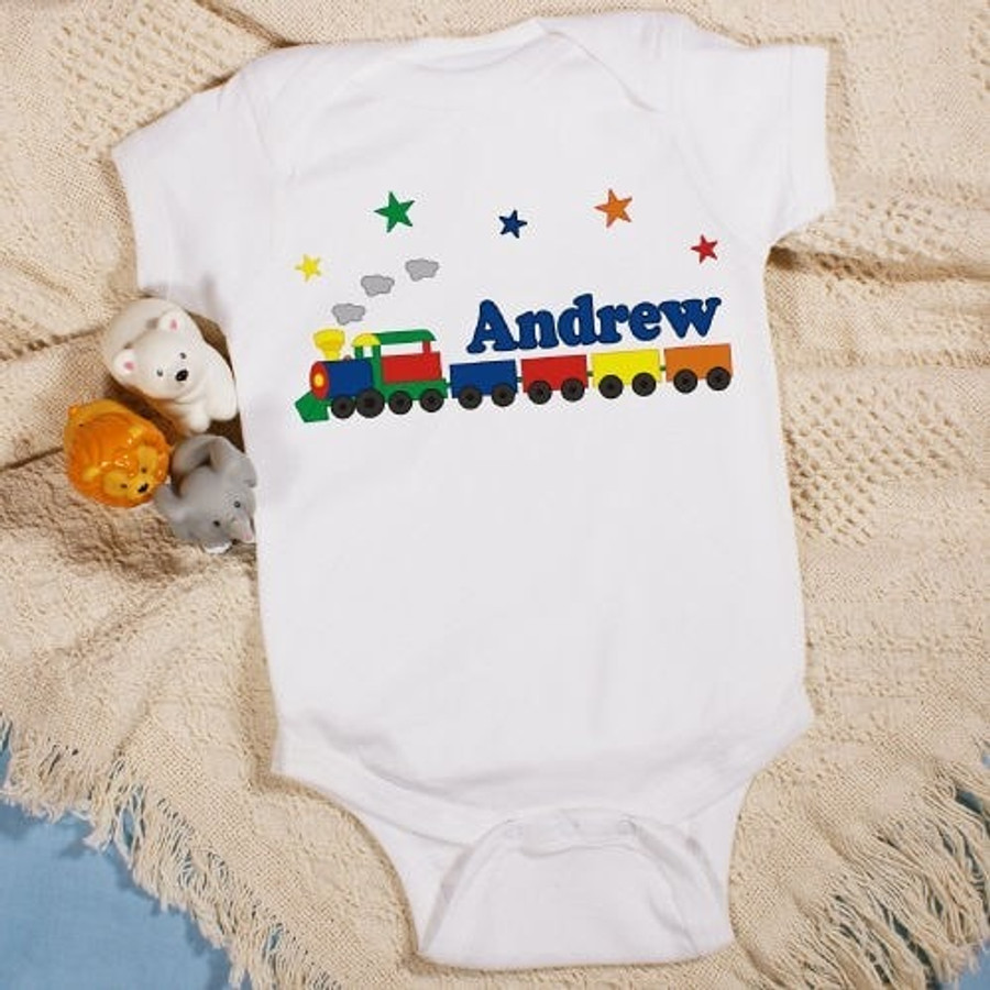 Personalized onesie with a colorful train for your special baby boy.