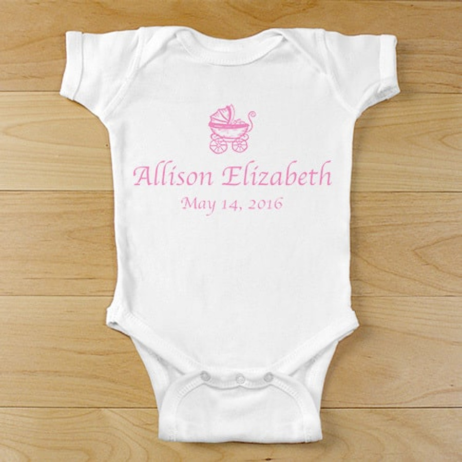 All girl baby buggy onesie can be personalized with full name and date of birth for any special princess.