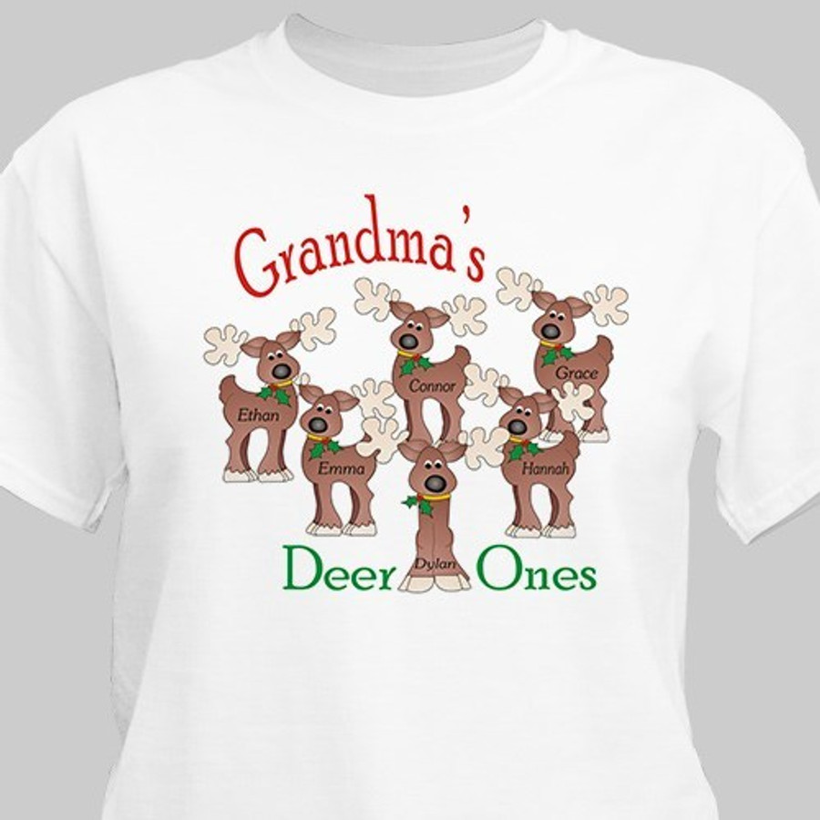 Grandma's Deer Ones Christmas T-shirt personalized with adorable reindeer.