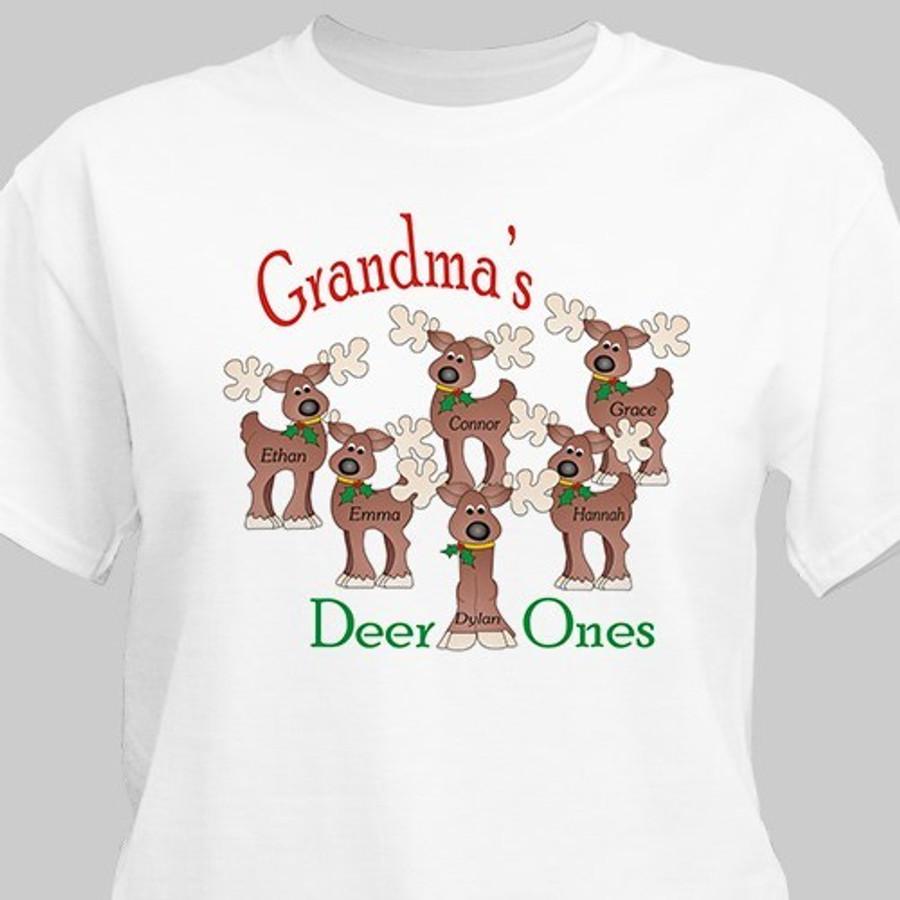 Grandma's Deer Ones Christmas T-shirt personalized with adorable reindeer.