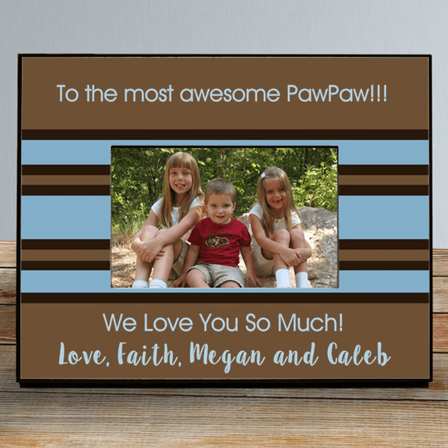 Personalized Brown & Blue Wood Frame for a Special Grandpa!