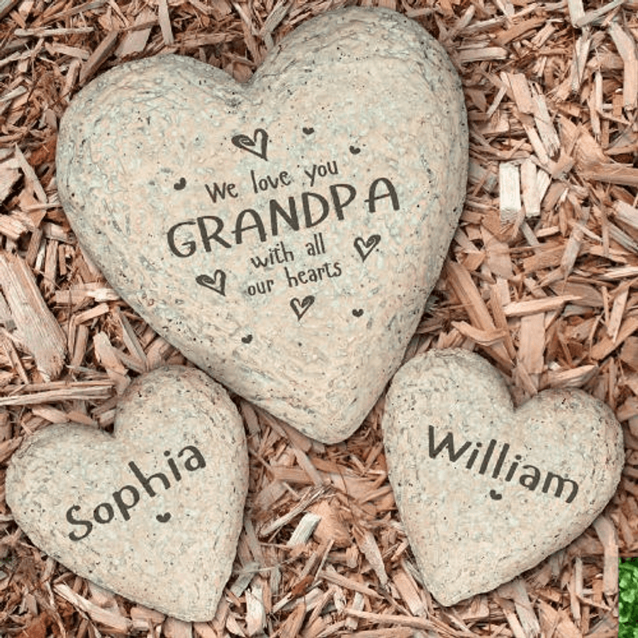 Heart shaped Garden Stone for a special grandpa, We Love You With All Our Hearts.