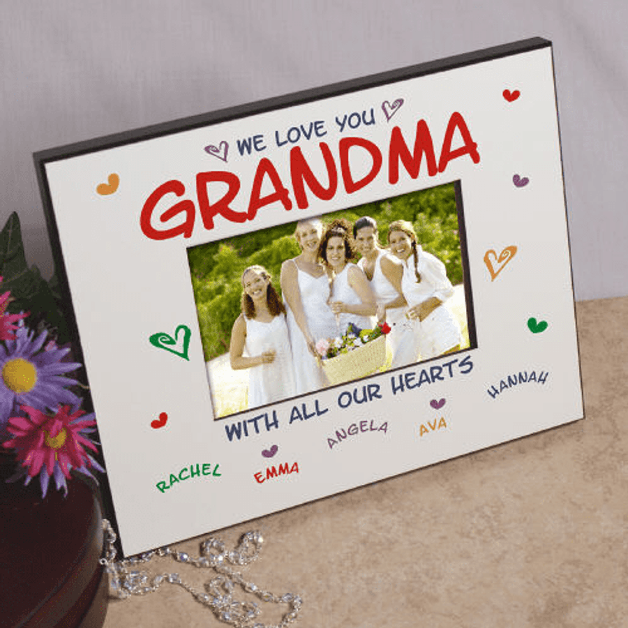 We Love You...With All Our Hearts Personalized Frame for Grandma