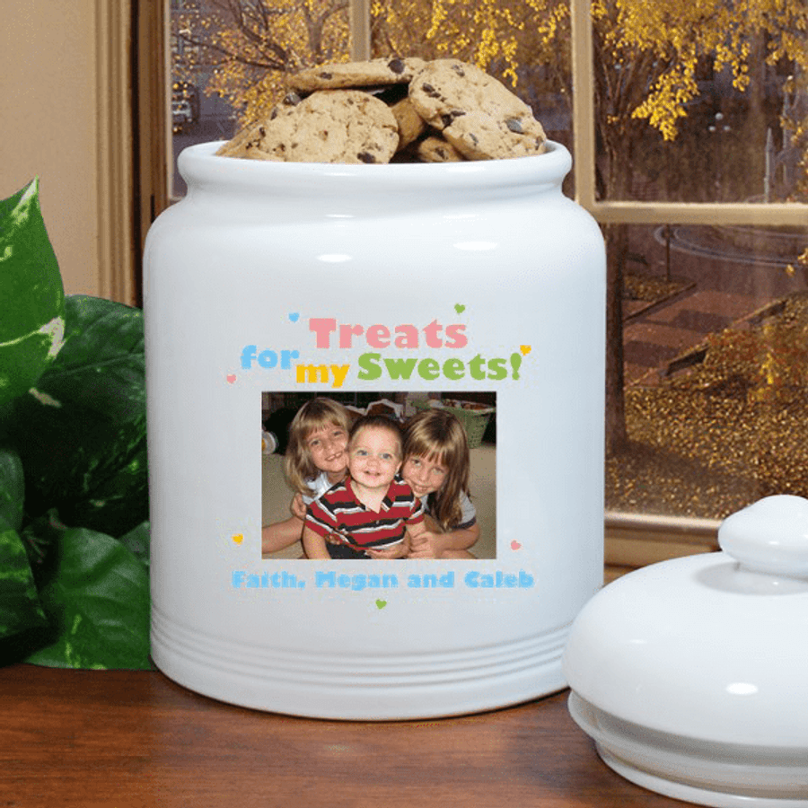 Personalized Photo Ceramic Cookie Jar for Grandma- Treats for my Sweets!