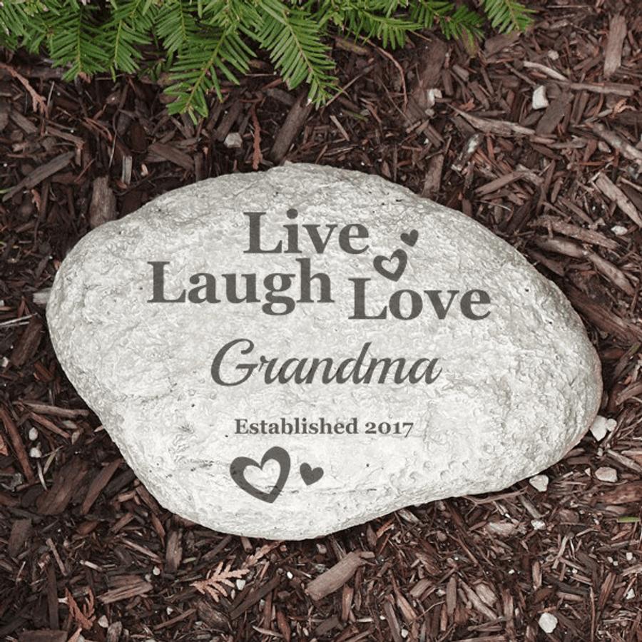 Personalized Garden Stone for Grandma: Live, Laugh, Love