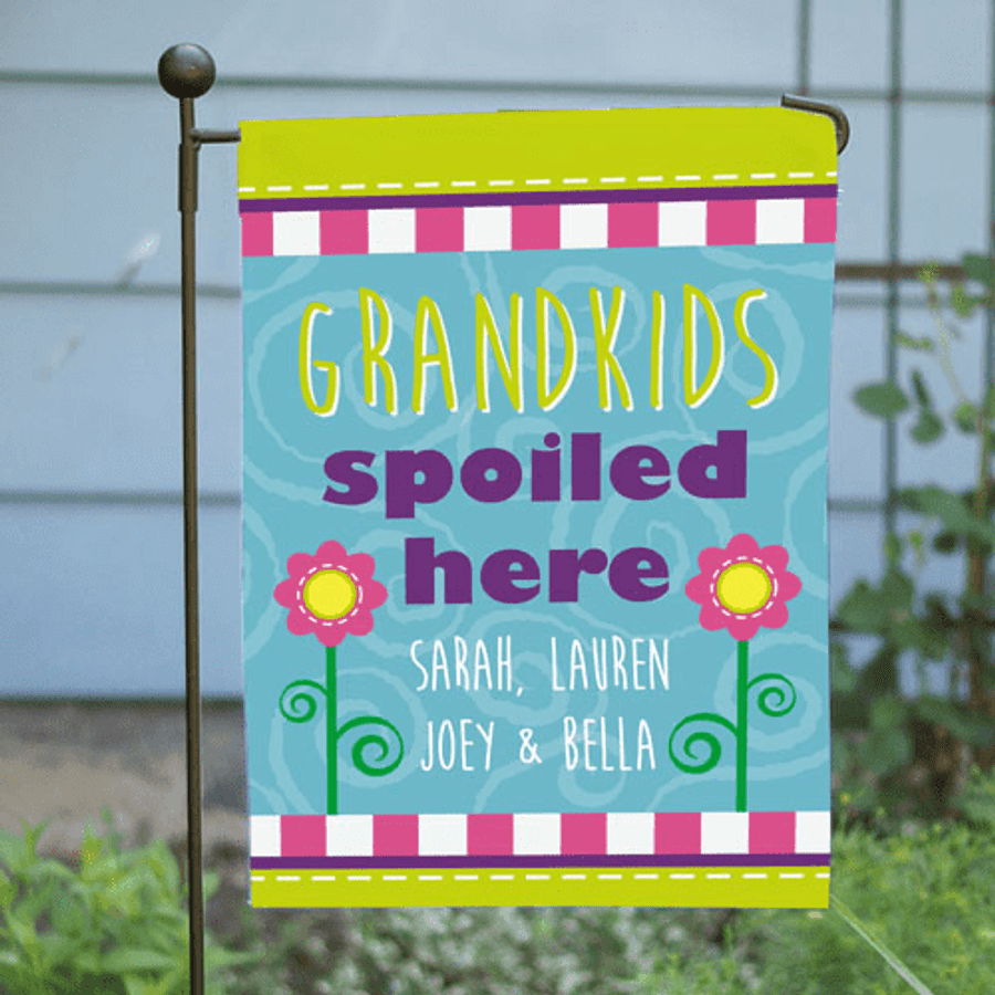 Personalized garden flag for Grandma -  Grandkids spoiled here