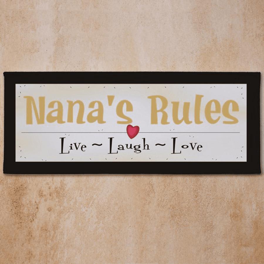 Personalized Grandma Wall Canvas - Live Laugh Love