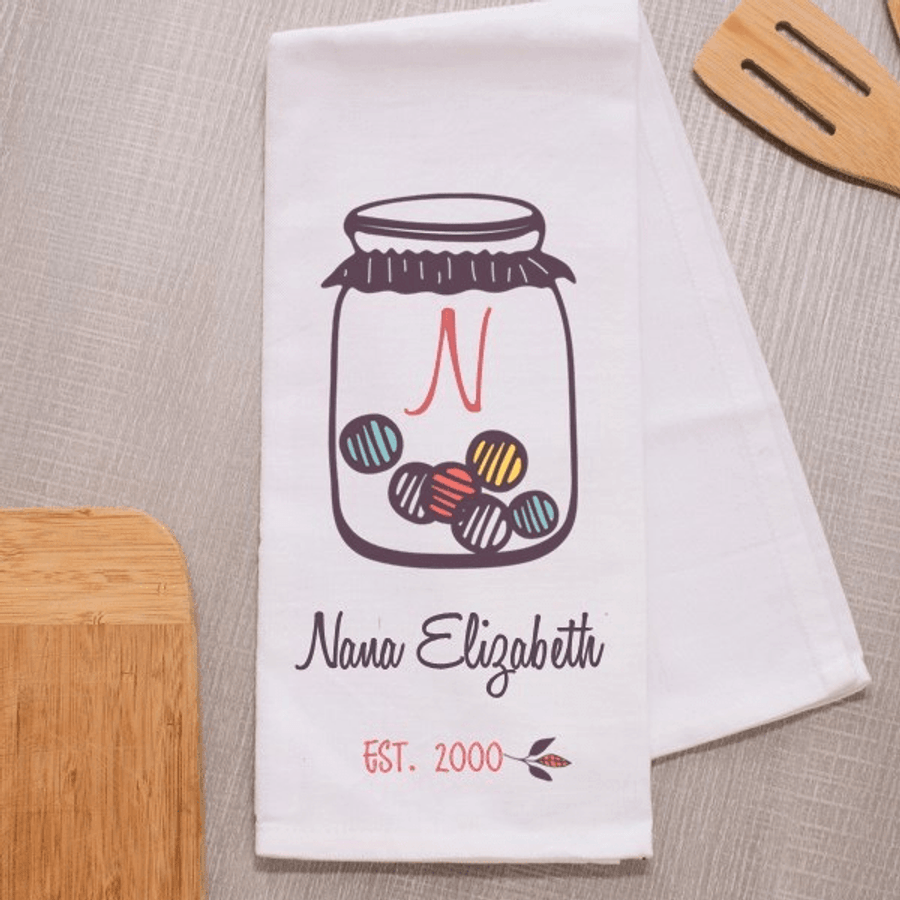 Cute kitchen towel with a candy jar to personalize for your special Grandma!