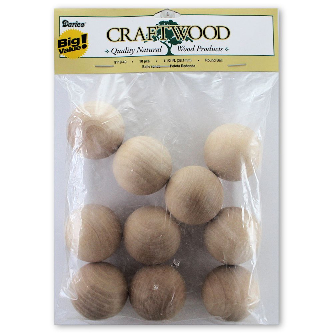 38mm Wooden Round 1 12 Head Beads Dolls Country Crafts 10 Pkg