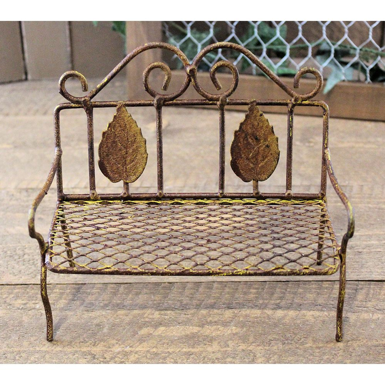 Brilliant Miniature Garden Bench Rusty Wire Country Primitive Cottage Gmtry Best Dining Table And Chair Ideas Images Gmtryco