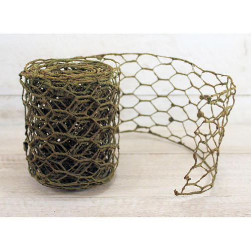 Grungy Green Chicken Wire Garland Country Primitive Farmhouse Home Decorating