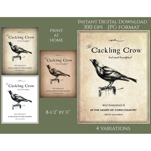 Cackling Crow Inn Farmhouse Vintage Style Instant Download Digital