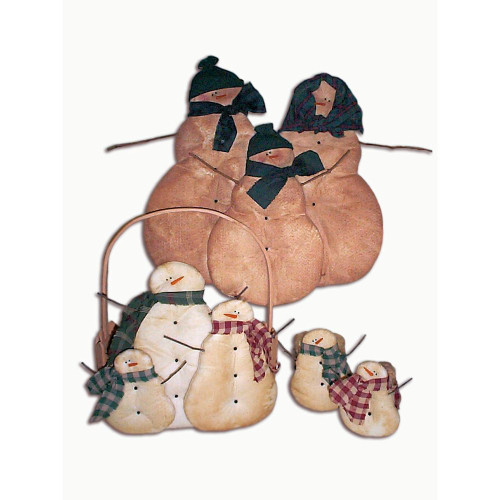 Country Primitive Snowman Ornaments Winter Holiday Sewing Crafts