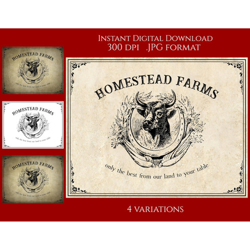 Farmhouse Homestead Farms Vintage Style Sign Printable Instant Digital Download