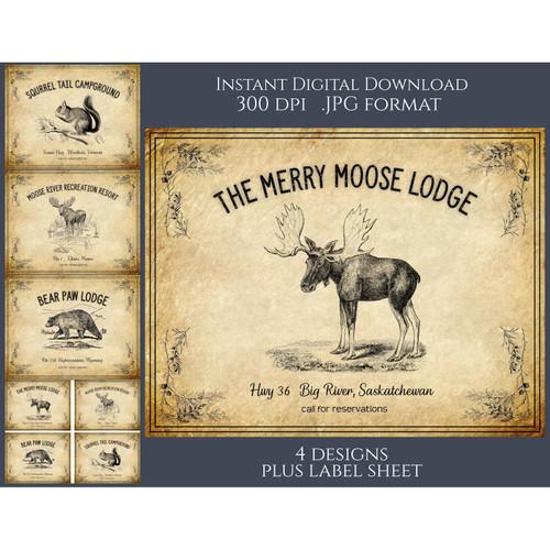 Lodge North Woods Forest Lake Vintage Style Signs Labels Printable Instant Digital Download