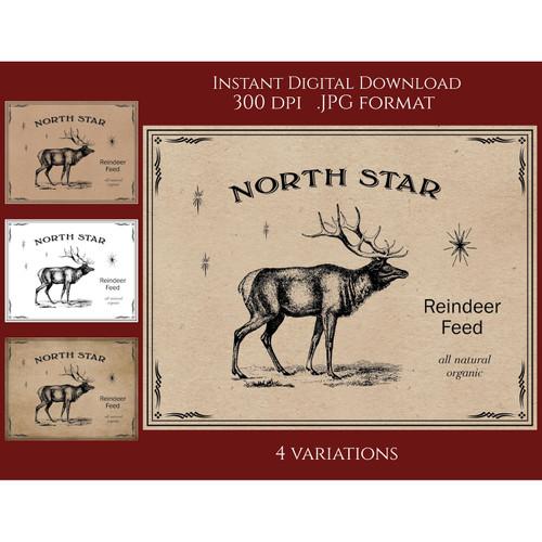Reindeer Feed Vintage Style Sign Printable Instant Digital Download