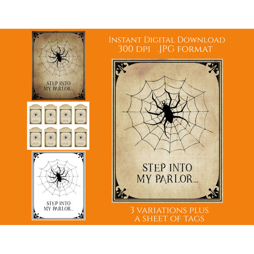 Spider Parlor Spiderweb Halloween Signs Tags Printable Instant Digital Download