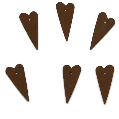 Rusty Tin Folk Heart Shapes with Holes Country Primitive Crafting Supplies