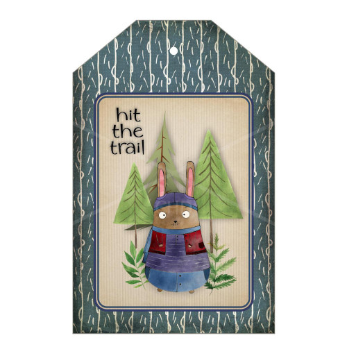 Instant Digital Download Printable Tags Country Primitive Forest Trail Bunny