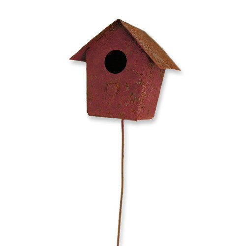 Rusty Burgundy Birdhouse Pick Country Primitive Crafting Supplies
