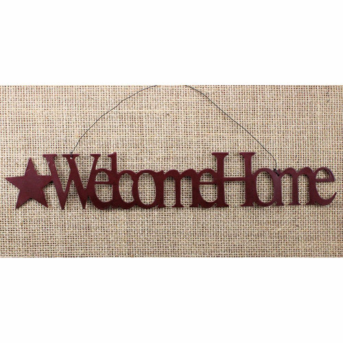 Welcome Home Tin Word Ornament Country Primitive Home Decorating