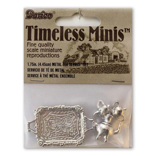 Miniature Dollhouse Metal Tea Service