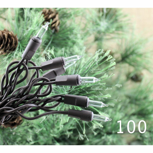 String Lights 100 Clear Bulbs Brown Cord