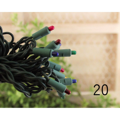 20 Multi Color 4mm Rice Bulbs Green Cord String Lights