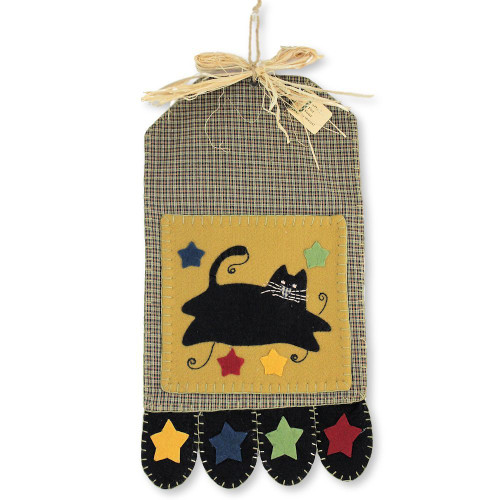 Cat Felt and Homespun Wall Pocket Hanging