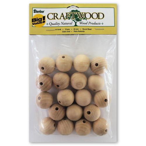 25mm Round Wooden Drilled Beads