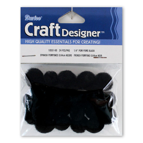 1/4-Inch Black Pom Poms