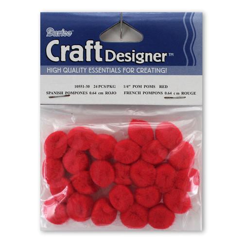 1/4-Inch Red Pom Poms