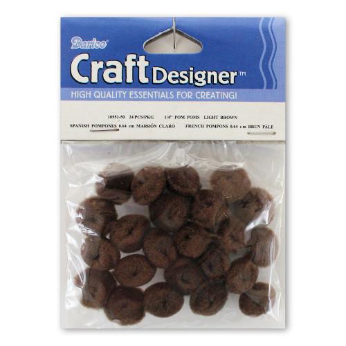 1/4-Inch Brown Pom Poms