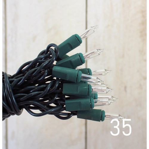 String Lights 35 Clear Bulbs Green Cord
