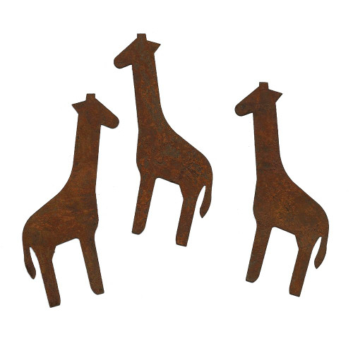 Rusty Tin Giraffe Shapes