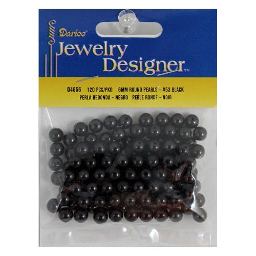 6mm Round Black Beads Doll Eyes