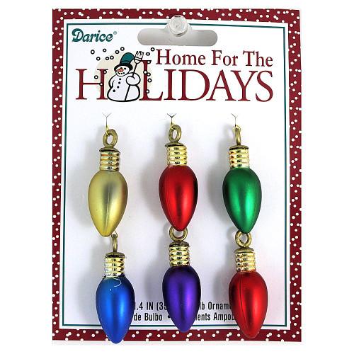 Christmas Light Bulb 35mm Ornaments Matte Metallic