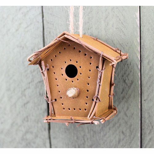 Miniature Rusty Tin Birdhouse