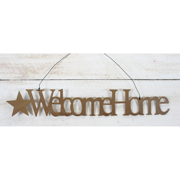 Tin Word Ornament Welcome Home Mustard Star