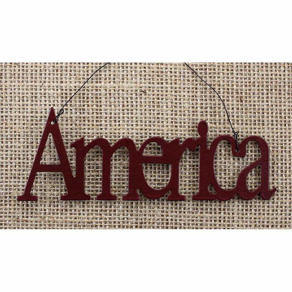 Tin Word Ornament America