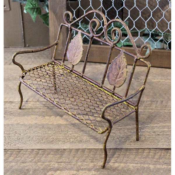 Fine Miniature Garden Bench Rusty Wire Country Primitive Cottage Gmtry Best Dining Table And Chair Ideas Images Gmtryco