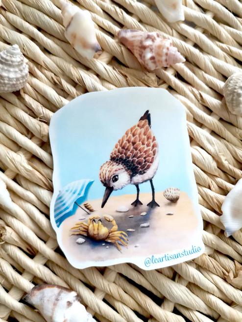 Sandpiper with Crab Sticker