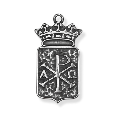 Chi Rho Crowned Silver FRONT