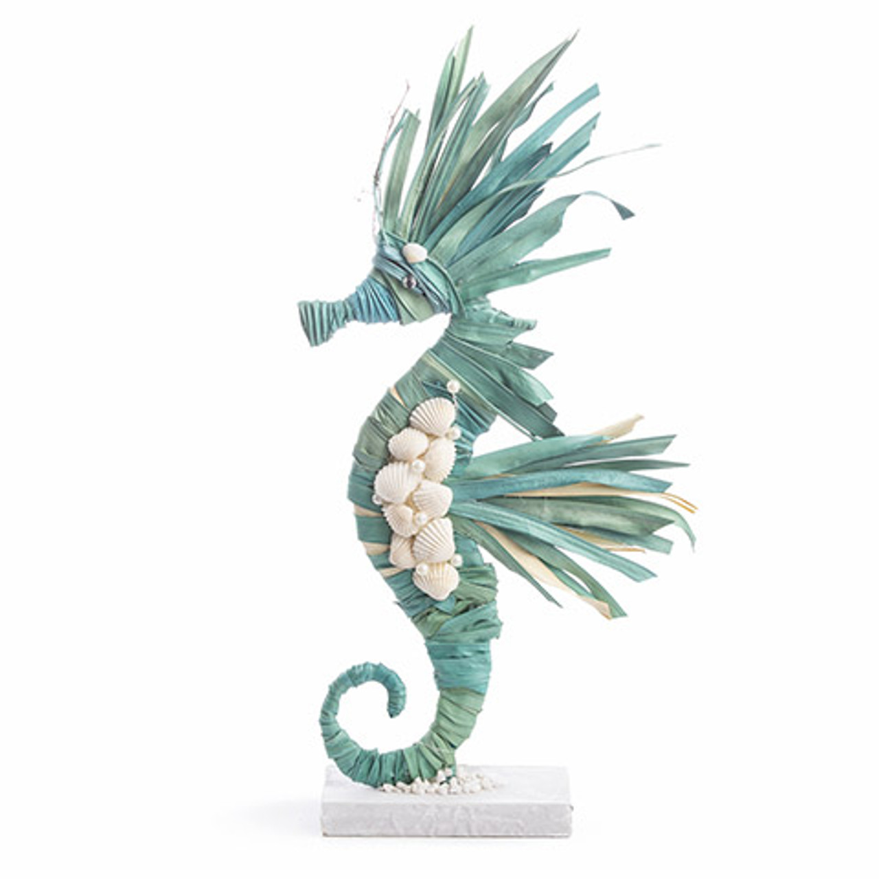 Blue Plantain Banana Leaf Seahorse Decor On White Base 18 Inches