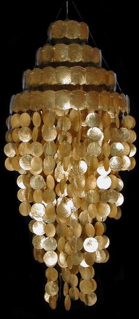 """Bronze Capiz Shell Round Top Chandelier 15"""" accross 40"""""""