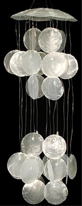 """Round White Capiz Seashell Wind chime 10"""""""