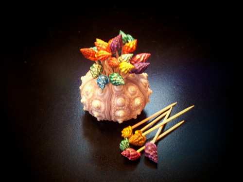 100 Dark Dyed Shell Toothpicks with Urchin Holder